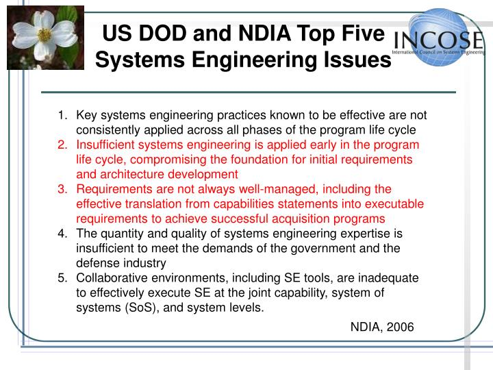 US DOD and NDIA Top Five Systems Engineering Issues