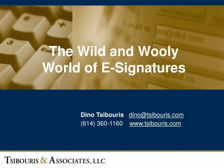 The wild and wooly world of e signatures