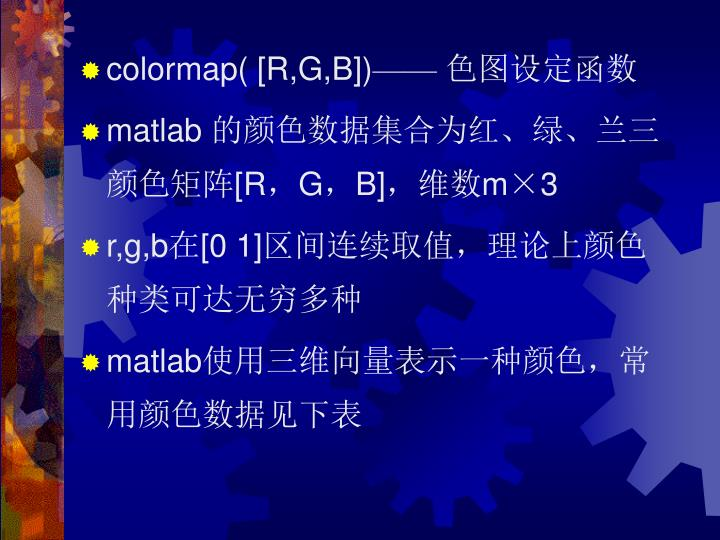 colormap( [R,G,B])