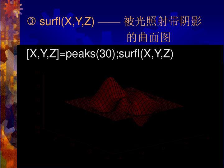  surfl(X,Y,Z)