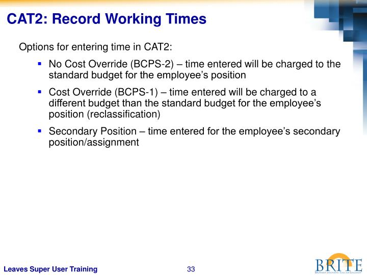 CAT2: Record Working Times