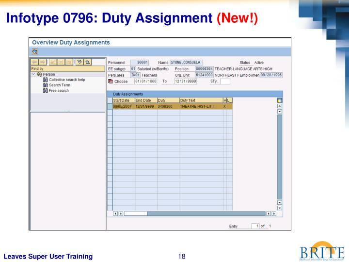 Infotype 0796: Duty Assignment