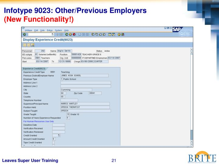 Infotype 9023: Other/Previous Employers