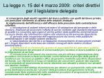 la legge n 15 del 4 marzo 2009 criteri direttivi per il legislatore delegato