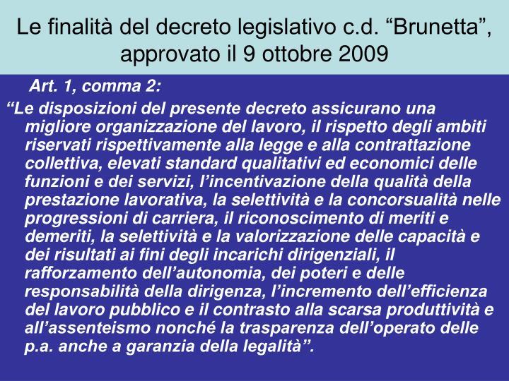 """Le finalità del decreto legislativo c.d. """"Brunetta"""", approvato il 9 ottobre 2009"""