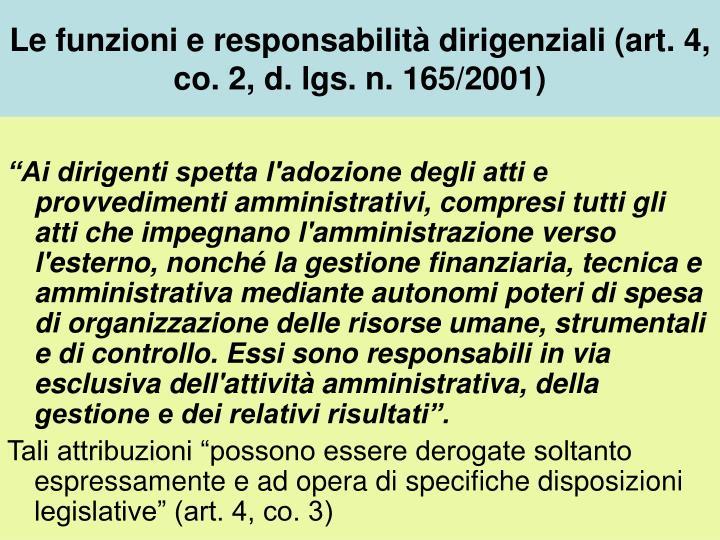 Le funzioni e responsabilità dirigenziali (art. 4, co. 2, d. lgs. n. 165/2001)