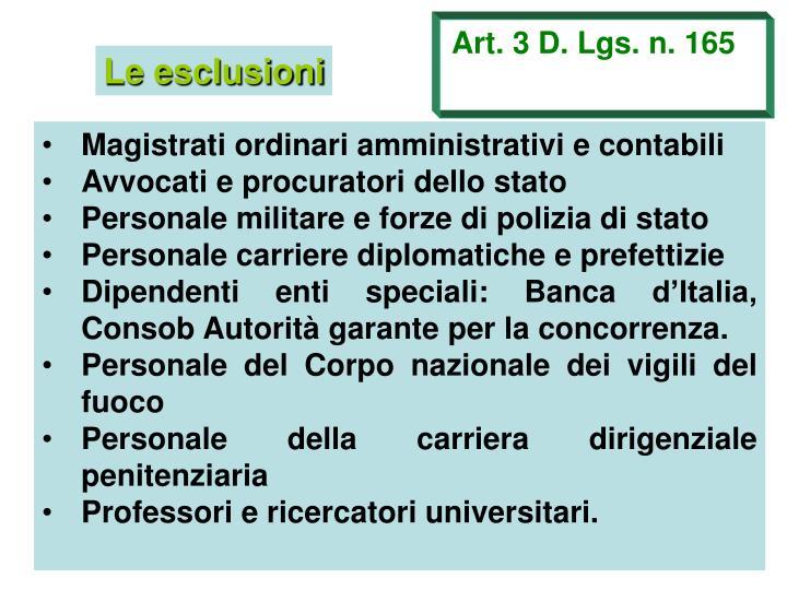 Art. 3 D. Lgs. n. 165