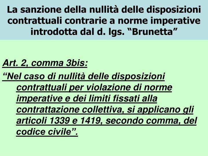 """La sanzione della nullità delle disposizioni contrattuali contrarie a norme imperative introdotta dal d. lgs. """"Brunetta"""""""