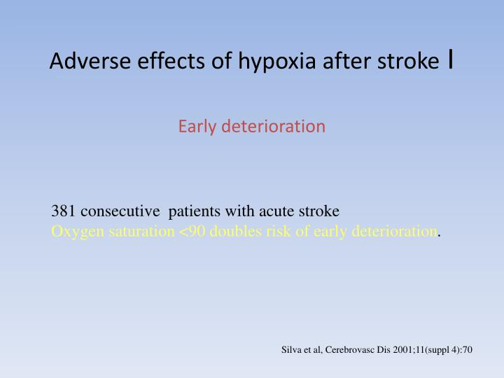 Adverse effects of hypoxia after stroke