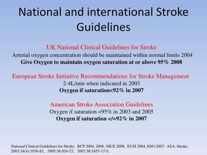 National and international Stroke Guidelines