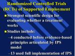 randomized controlled trials rcts of supported employment