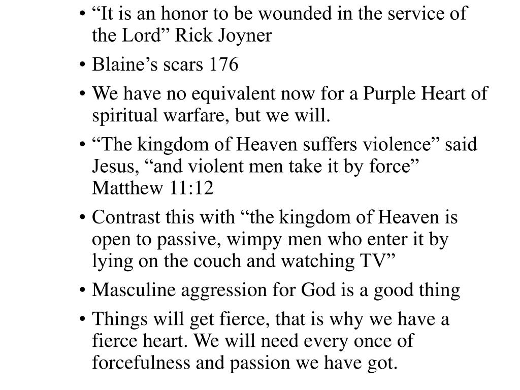 """It is an honor to be wounded in the service of the Lord"" Rick Joyner"
