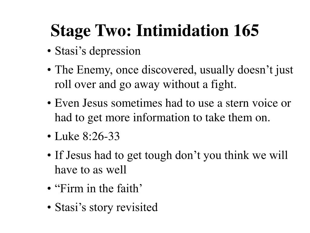 Stage Two: Intimidation 165