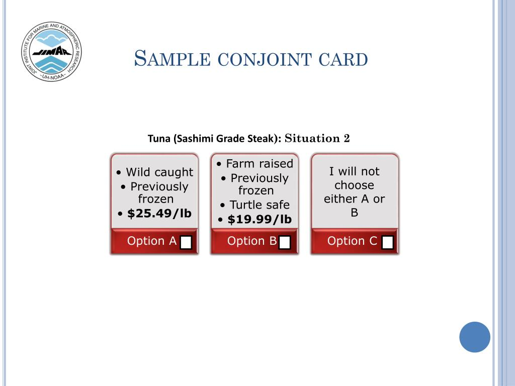 Sample conjoint card