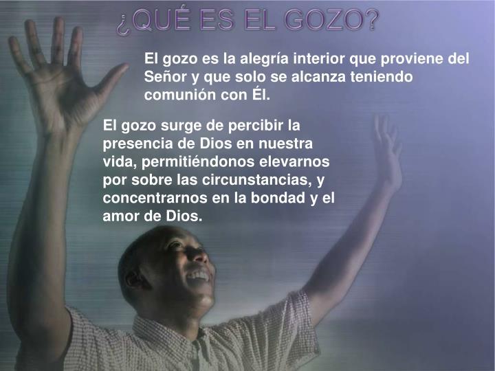 El gozo es la alegría interior que proviene del Señor y que solo se alcanza teniendo comunión con Él.