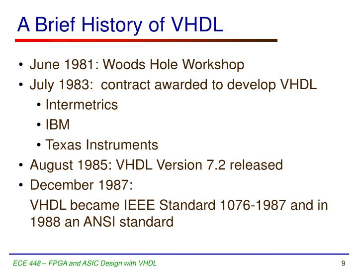 A Brief History of VHDL