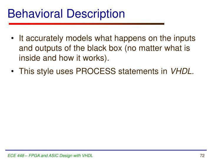 Behavioral Description