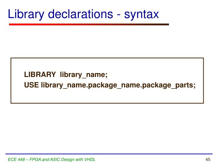 Library declarations - syntax
