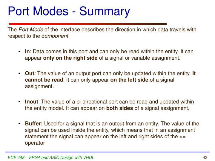 Port Modes - Summary