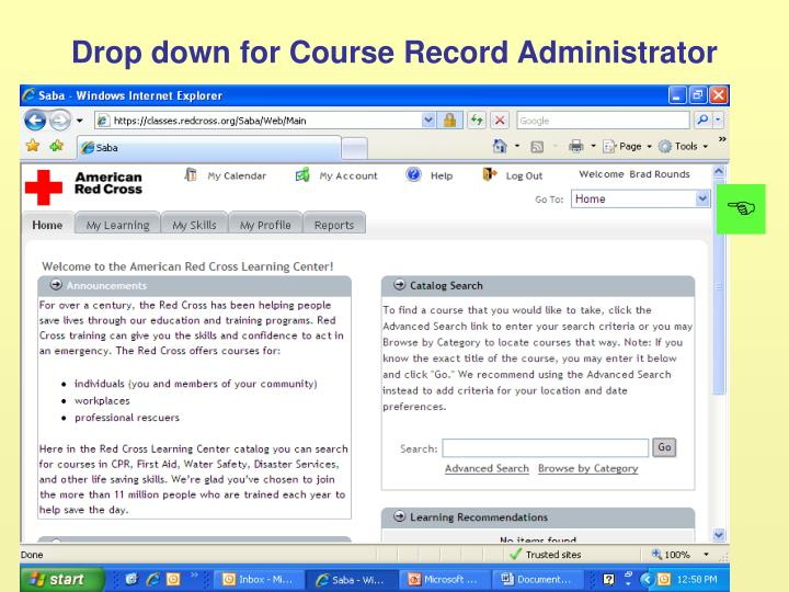 Drop down for Course Record Administrator
