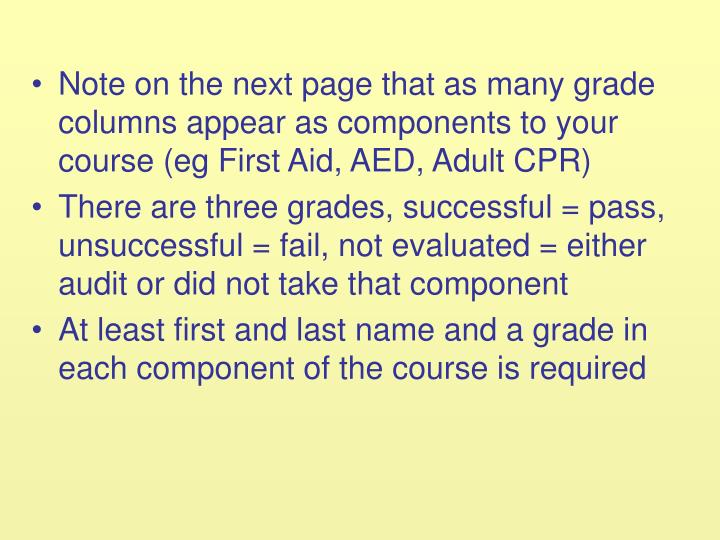 Note on the next page that as many grade columns appear as components to your course (eg First Aid, AED, Adult CPR)