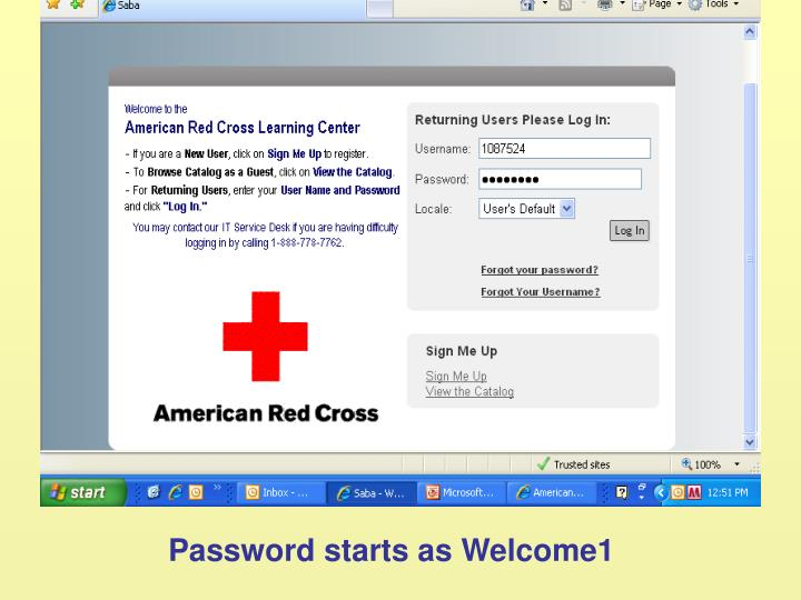 Password starts as Welcome1