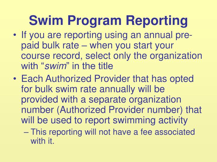 Swim Program Reporting
