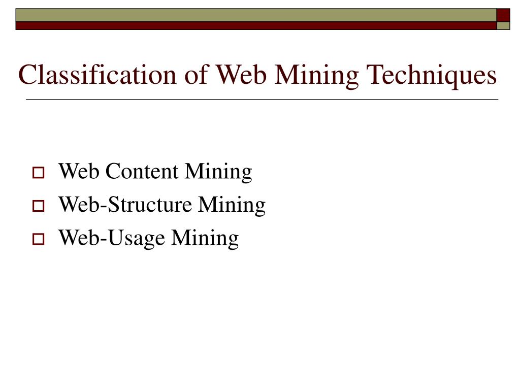 Classification of Web Mining Techniques