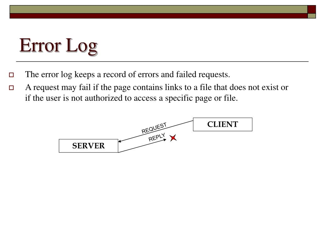 The error log keeps a record of errors and failed requests.