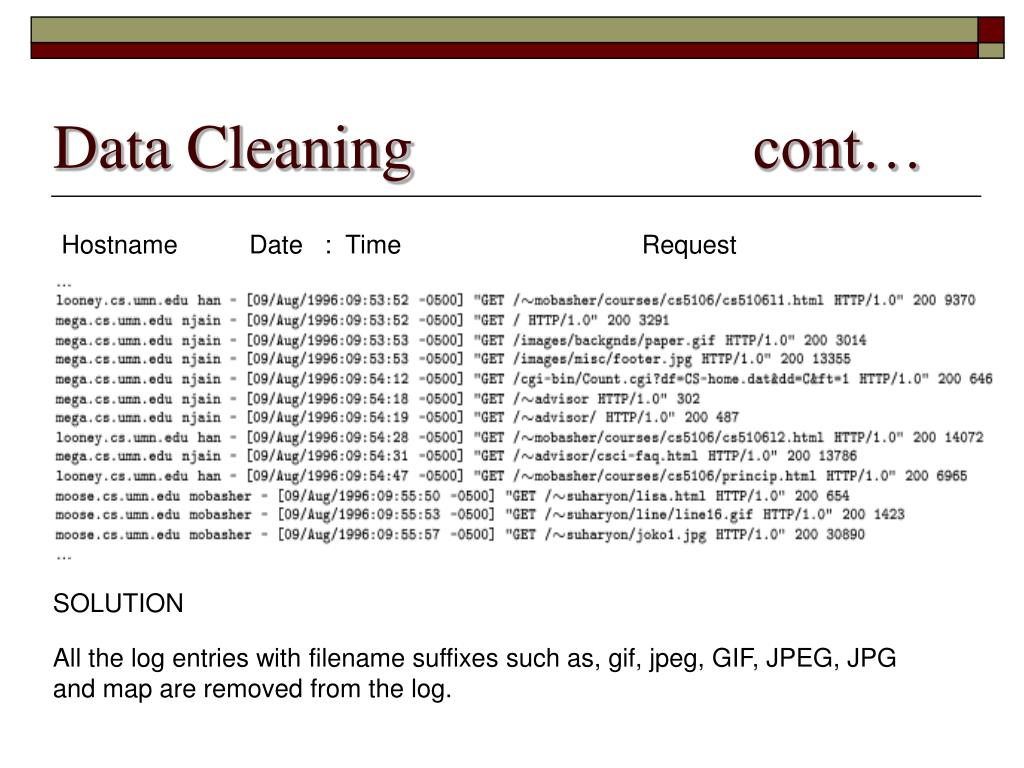 Data Cleaning		            cont…
