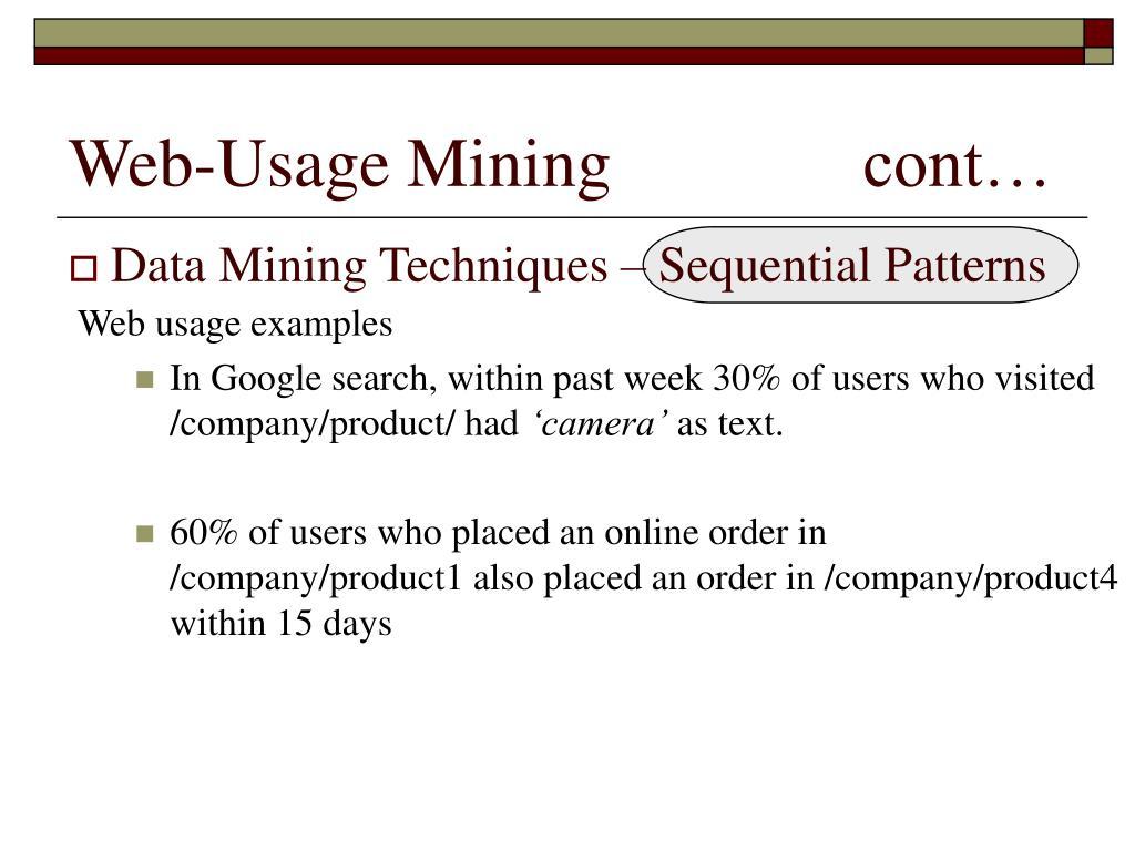 Web-Usage Mining cont…