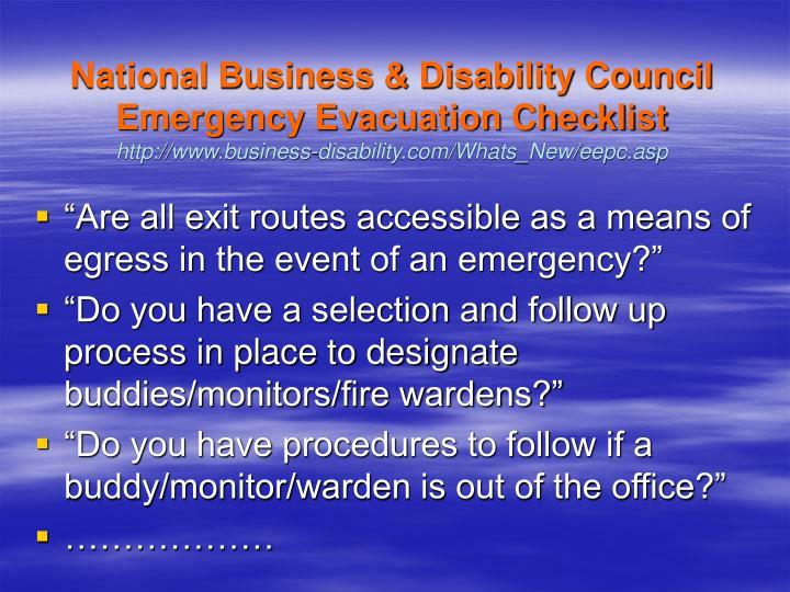 National Business & Disability Council Emergency Evacuation Checklist