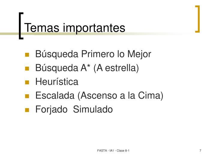Temas importantes
