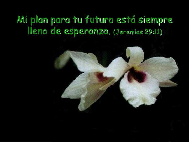 Mi plan para tu futuro está siempre lleno de esperanza.