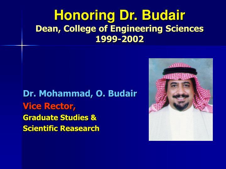 Honoring Dr. Budair