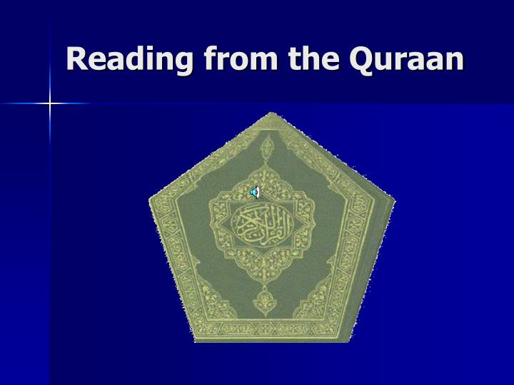 Reading from the Quraan
