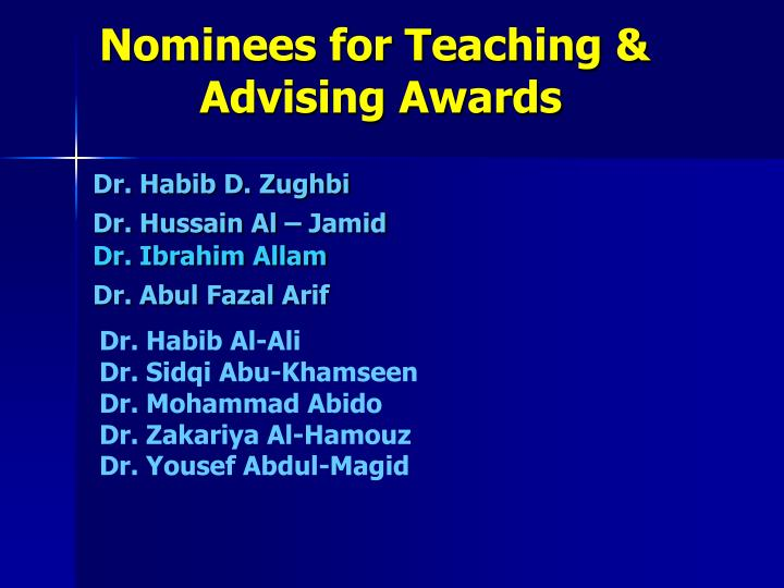 Nominees for Teaching &