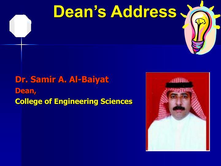 Dean's Address