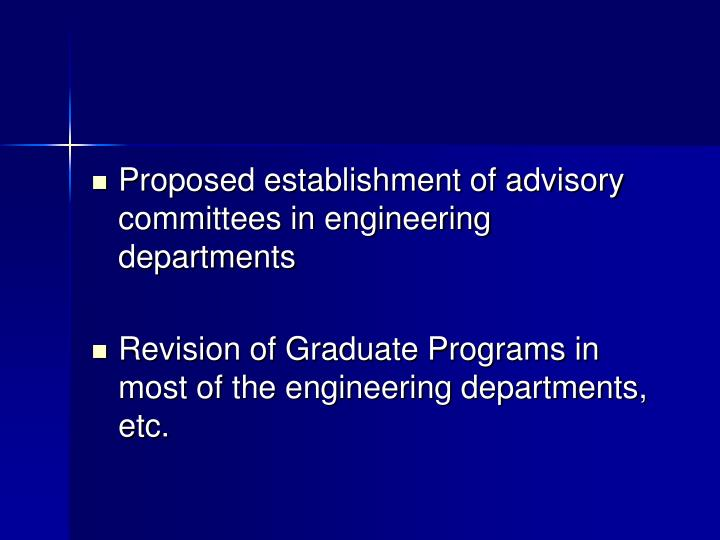Proposed establishment of advisory committees in engineering departments