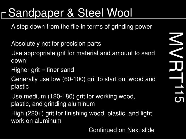 Sandpaper & Steel Wool