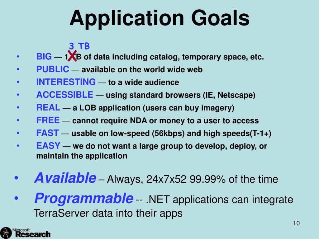 Application Goals