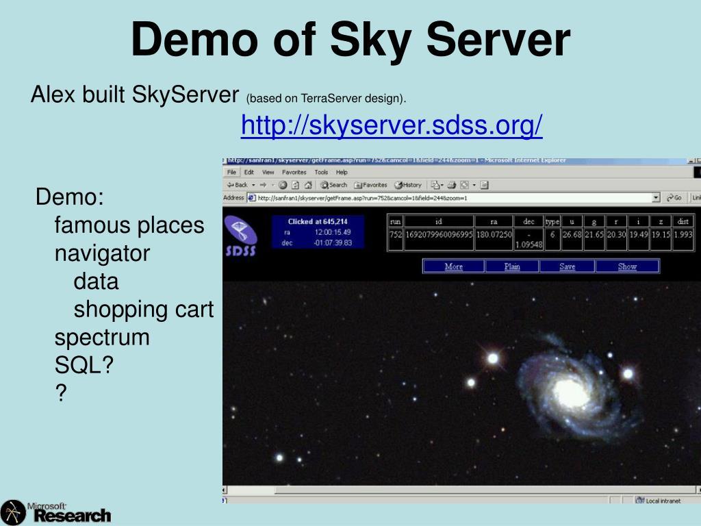 Demo of Sky Server