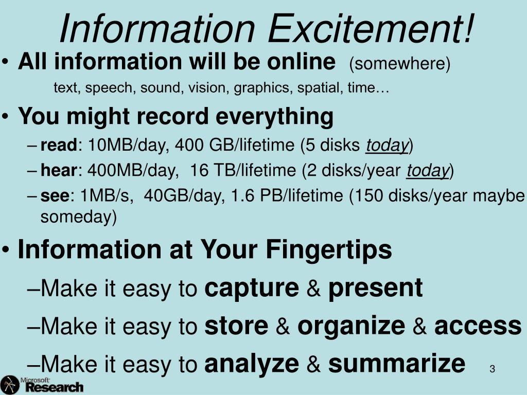 Information Excitement!