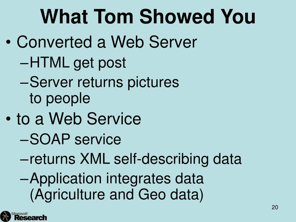 What Tom Showed You