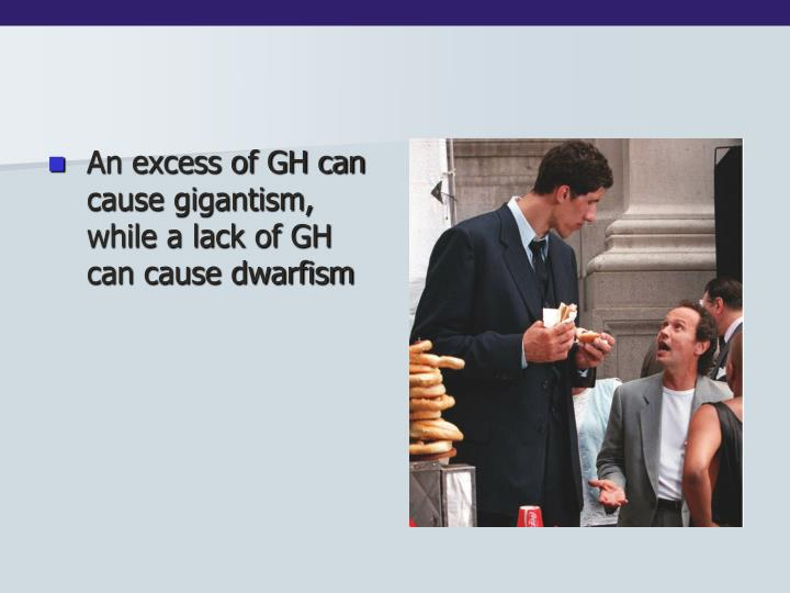 An excess of GH can cause gigantism, while a lack of GH can cause dwarfism