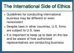 the international side of ethics