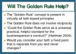 will the golden rule help