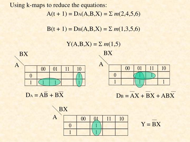 Using k-maps to reduce the equations: