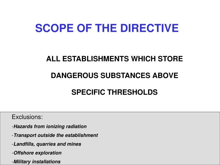 SCOPE OF THE DIRECTIVE
