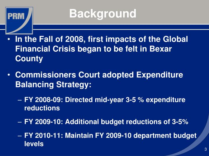 In the Fall of 2008, first impacts of the Global Financial Crisis began to be felt in Bexar County